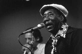 bluesman Muddy Waters on stage