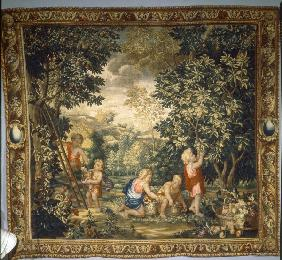 Boys harvesting fruit / Tapestry
