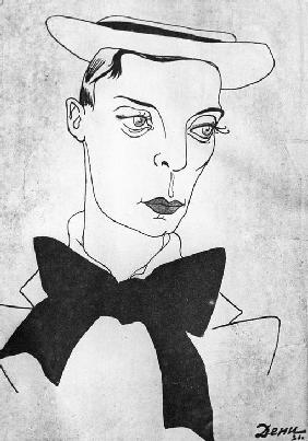 Caricature on American comedy actor and film director Buster Keaton