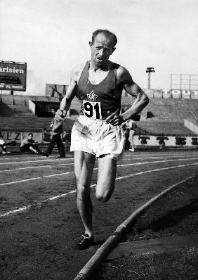 Emil Zatopek, czech runner during a 5000m race