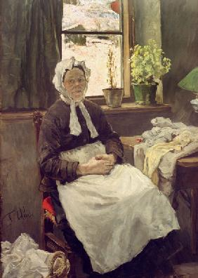 F.v.Uhde, The old seamstress