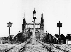 Gothic bridge and railway railroad over the Rhine in Strasbourg Alsace east of France