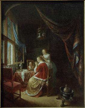 Gerrit Dou, Lady at Dressing Table /Ptg.