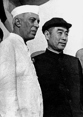 Indian Prime Minister Nehru with chinese Chu en Lai in New Delhi