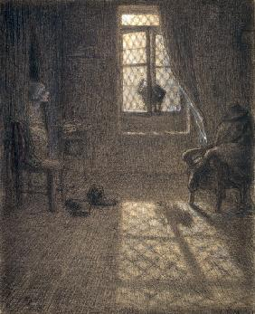 J.Millet, Cat at the Window, c.1857- 58.