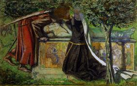 Lancelot at King Arthur s tomb/ Rossetti