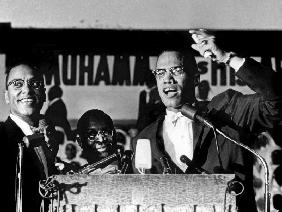 Malcolm X during a speech during a rally of Nation of Islam at Uline Arena, Washington, photo by Ric