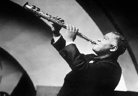 New Orleans jazzman Sidney Bechet here playing the soprano saxophone