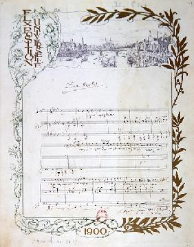Score of the opera, ''Don Carlos'', Giuseppe Verdi (1813-1901) written on paper printed for the Expo
