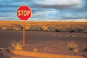 Stop sign at road (photo)