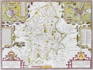 Stafford County and Town, engraved by Jodocus Hondius (1563-1612) from John Speed's 'Theatre of the