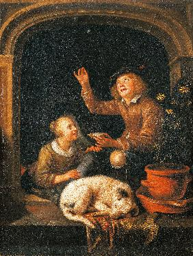 The Soap Bubbles / based on Gerard Dou