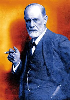 Austrian psychoanalyst Sigmund Freud , colourized document