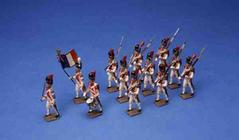 Twelve French Marching Soldiers (painted lead)