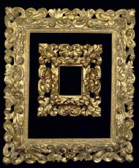 Two carved and gilded frames decorated with 'S'-scrolls and acanthus leaves, Florentine, 17th centur