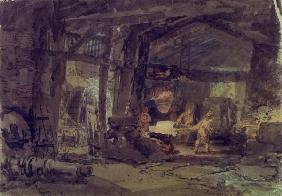 W.Turner / An Iron Foundry / c.1797/98