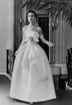 White evening dress by Dior