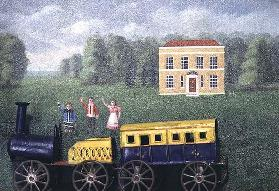 Waving to the train, 1870/1880 (collage)