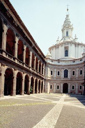 View of the facade and the court designed by Francesco Borromini (1599-1667) (photo)