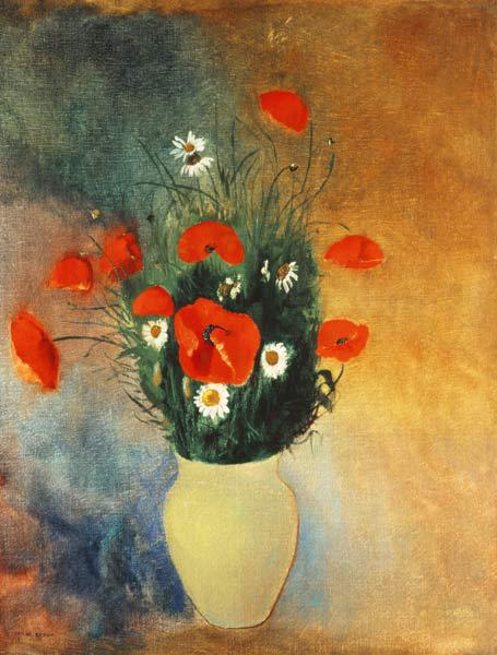 Vase with poppies and Margueriten