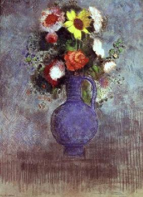 Still life of flowers in a blue vase (pastel)