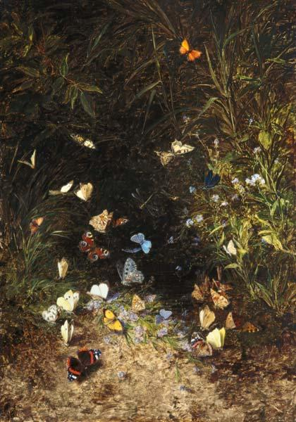 Meadow with coloured butterflies