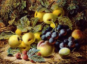 Still Life with Apples, Plums, Grapes and Raspberries