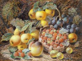 Still Life of Apples, Grapes, Raspberries, Gooseberries and Peach