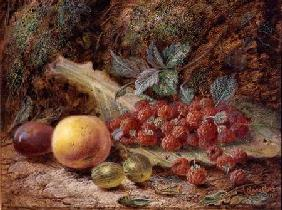 Still Life with Fruit on a Cabbage Leaf