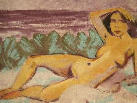 Reclining Nude, c.1914 (oil on canvas) (see 178118 for recto)