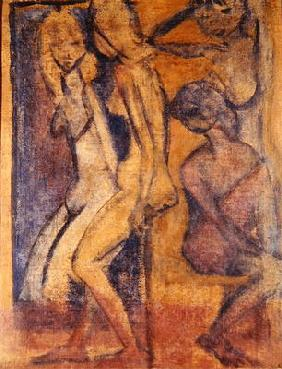 Three Girls, 1922 (oil on canvas) (see 274039 for recto)