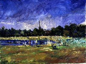 Deck Chairs by the Pond, 1998 (oil on canvas)