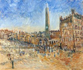 The Piazza in Siena, 1995 (oil on canvas)