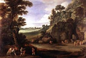 Arcadian landscape with satyrs and nymphs (panel)