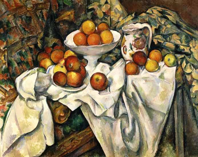 Naturaleza muerta con manzanas y naranjas