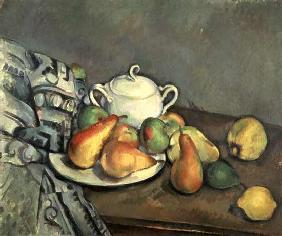 Quiet life with sugar bowl, pears and tablecloth