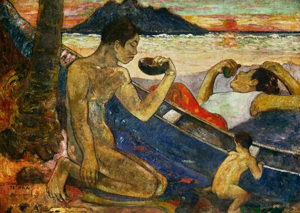 Reproducción impresa de  A Canoe (Tahitian Family)