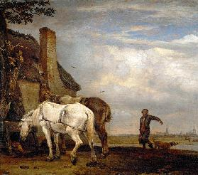 Two horses outside a farmhouse