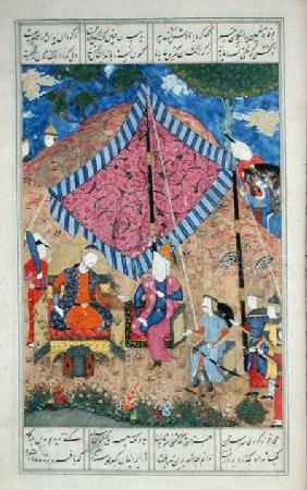 Ms D-184 fol.203a The Tent of the Persian Army, illustration from the 'Shahnama' (Book of Kings)