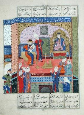Ms D-184 fol.381a Interior of the King of Persia's Palace, illustration from the 'Shahnama' (Book of