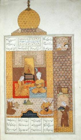 Ms D-212 fol.205b Bahram (420-28) Visits the Princess of Turkestan, illustration to 'The Seven Princ