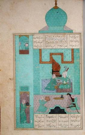 Ms D-212 fol.216a Bahram Visits a Princess in the Turquoise Pavilion, illustration to 'The Seven Pri