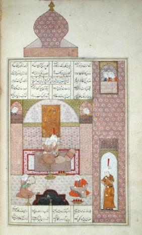 Ms D-212 fol.221b Bahram (420-28) Visits the Princess of Rum, illustration to 'The Seven Princesses'