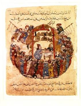 Ms c-23 f.165a A Doctor Performing a Bleeding in a Crowd of Curious People, from 'The Maqamat' (The