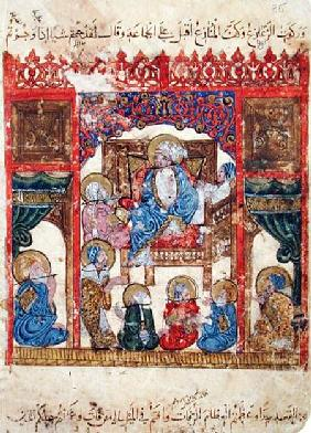 Ms c-23 f.16b Literary Meeting, from 'The Maqamat' (The Meetings) by Al-Hariri (1054-1121)