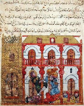 Ms c-23 f.99a Thief Taking his Loot, from 'The Maqamat' (The Meetings) by Al-Hariri (1054-1121)