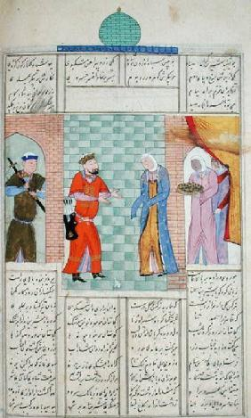 Ms C-822 The meeting of Khosro and Chirin in the palace, from the 'Shahnama' (Book of Kings)