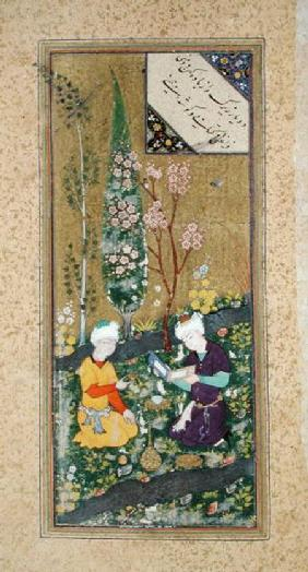 Ms C-860 fol.9a Two Figures Reading and Relaxing in an Orchard
