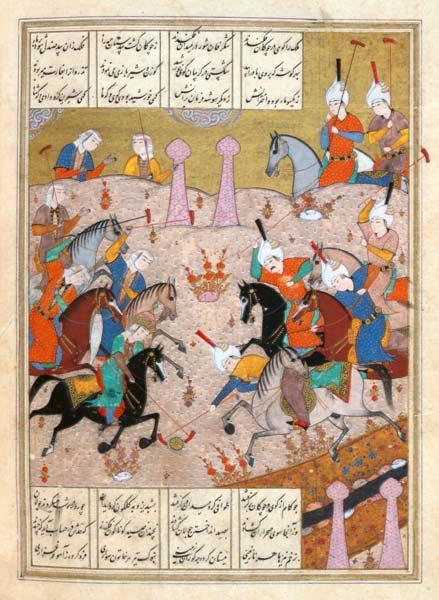 Ms d-212 A Game of Polo Between a Team of Men and a Team of Women, from the 'Khamsa' of Nizami
