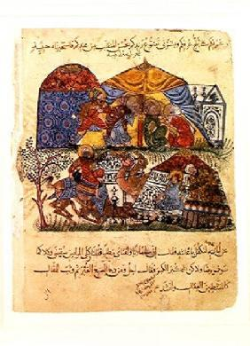 An old man and a young man in front of the tents of the rich pilgrims, from 'The Maqamat' (The Meeti
